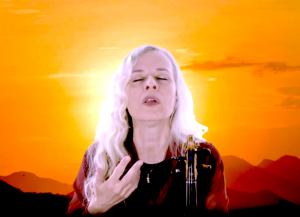 Violinist Ute  Apfelstedt Passionflower sings and plays live on Insight Timer, on Easter Sunday, at 9pm CET